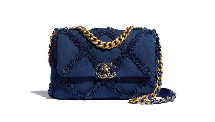 2021年Chanel 、Louis Vuitton、Celine宣佈再加價|15款最值得投資的經典款手袋 Chanel 19 flap bag Cotton Canvas Calfskin Navy