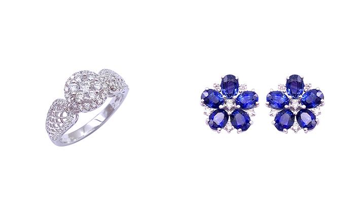 【九月珠寶展】平價入手性價比高優質鑽石、珠寶首飾!8間人氣參展商推介 左: 18K白金鑽石戒指 | 右:18K白金藍寶石鑽石耳環九月珠寶展參展商推介#6:Karp