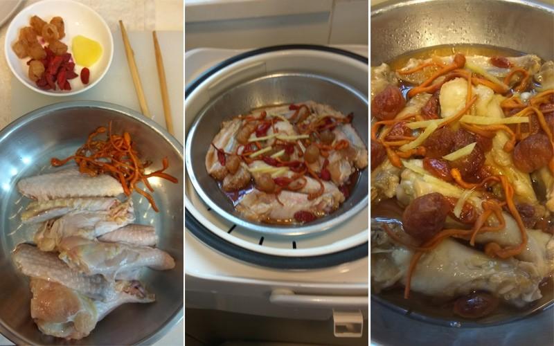 【坐月食譜】蟲草花圓肉杞子蒸雞,電飯煲就整到!